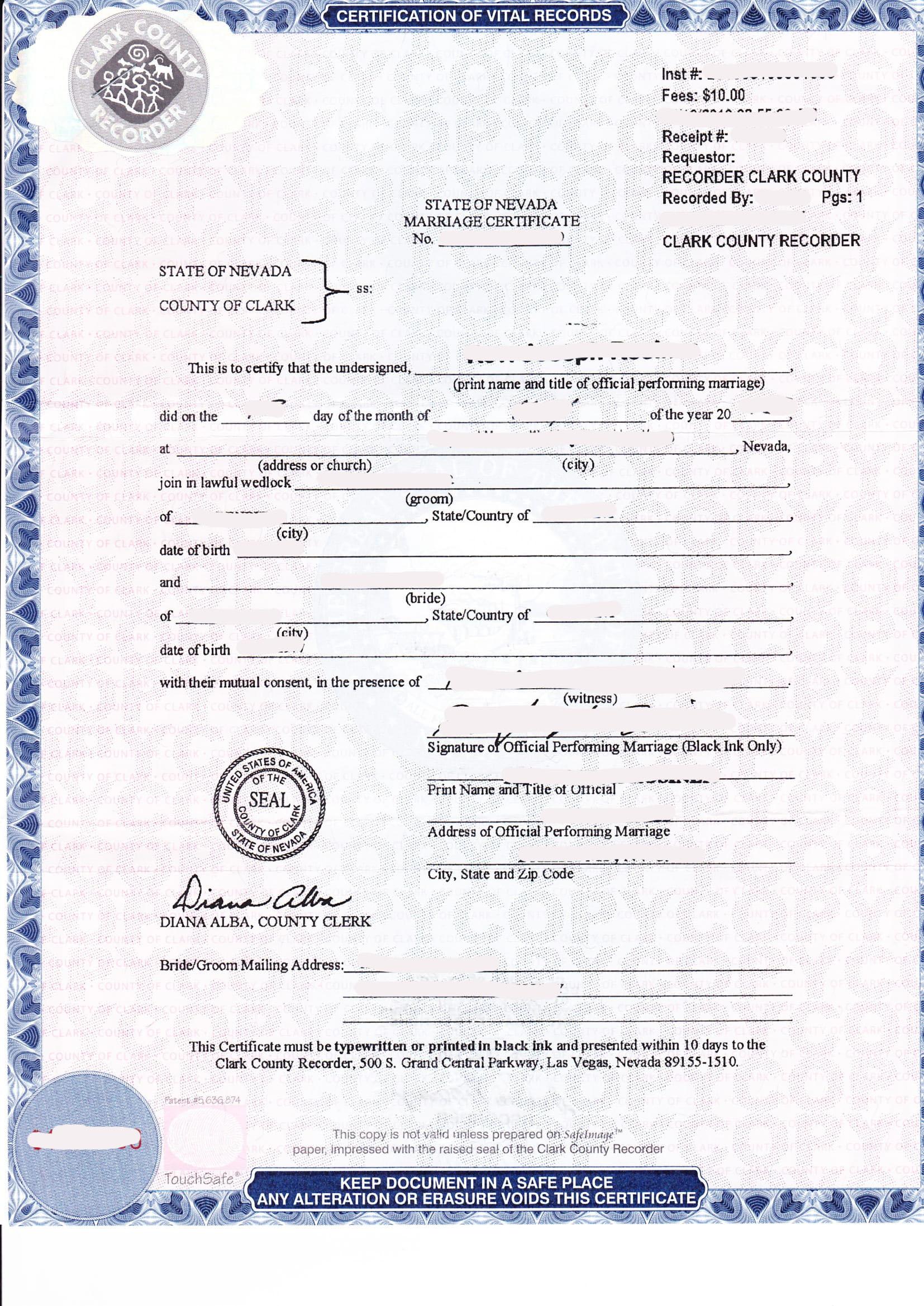 Marriage Certificate State Of Nevada Musterbersetzungen