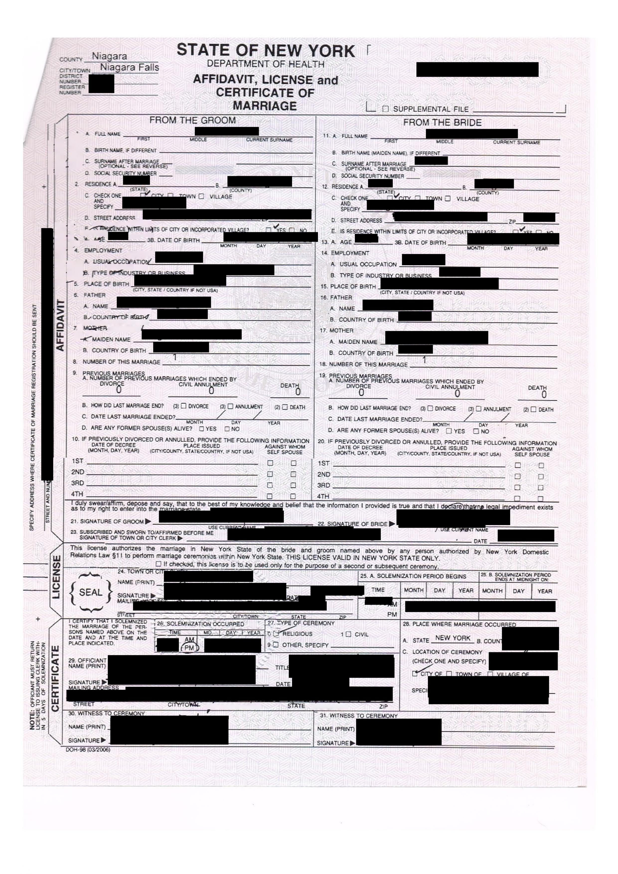 Affidavit License And Certificate Of Marriage State Of New York