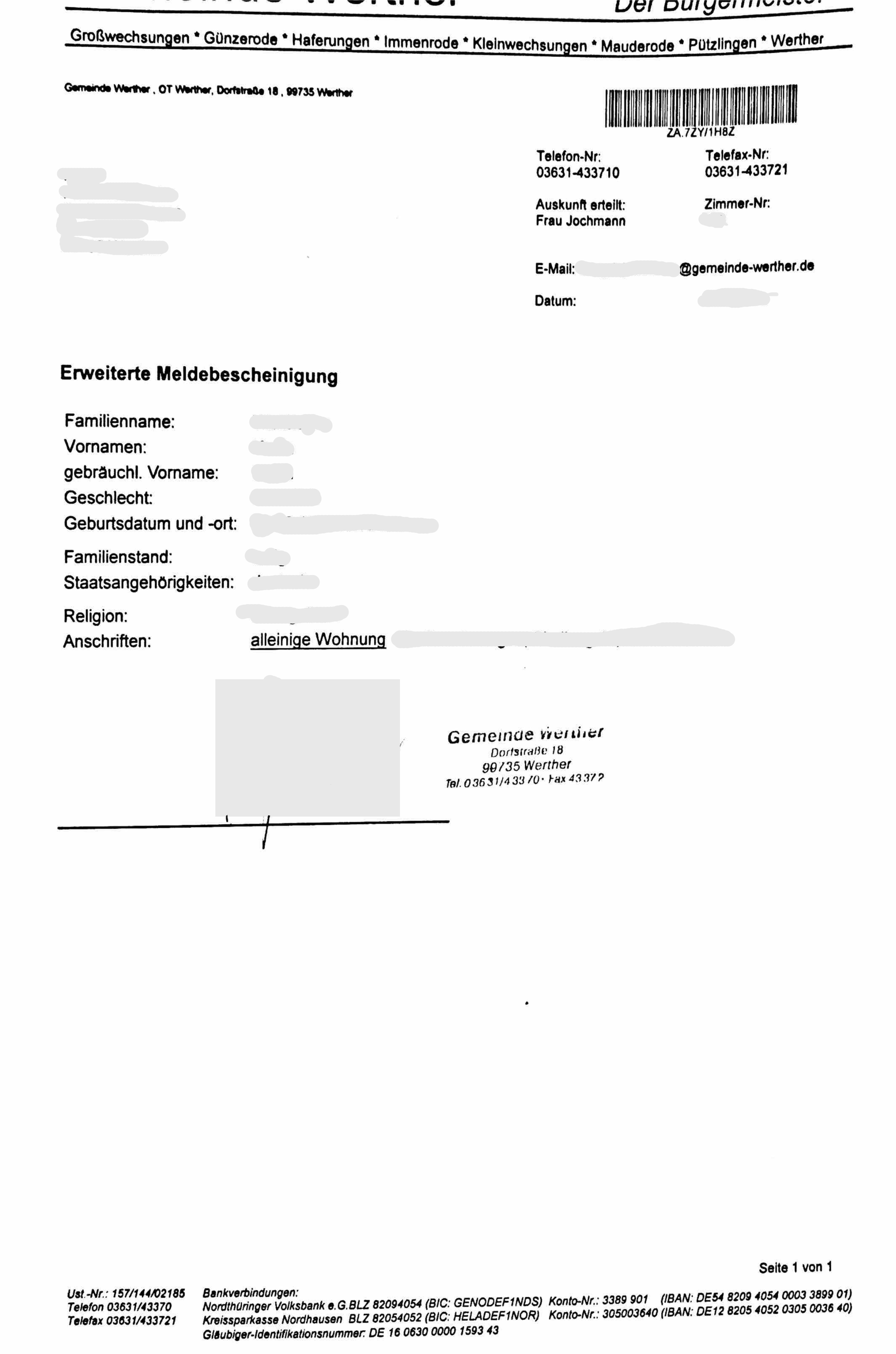 Erweiterte Meldebescheinigung Werther De En Musterubersetzungen Von Urkunden