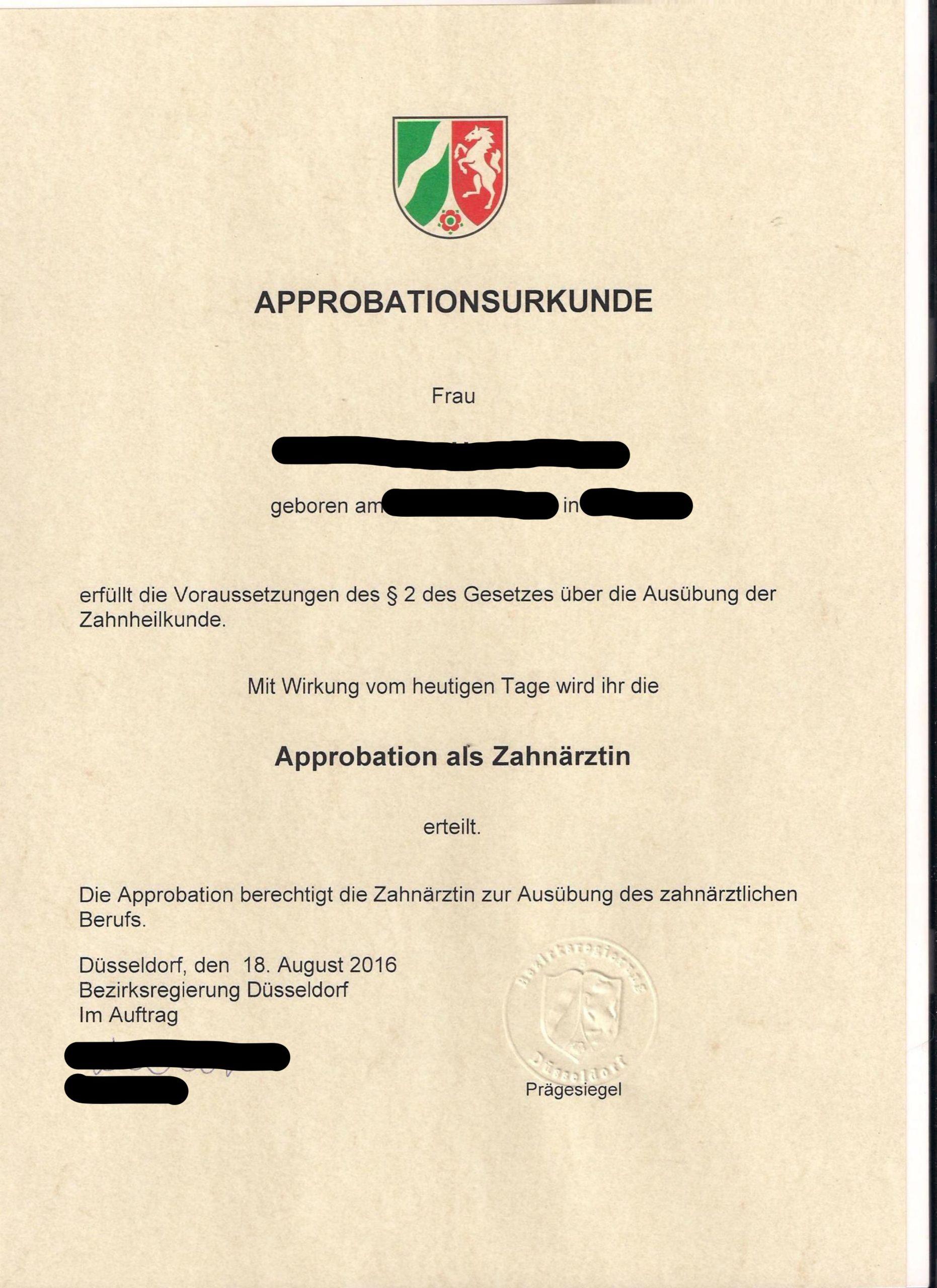 Approbationsurkunde Zahnarzt Nrw Musterubersetzungen Von Urkunden